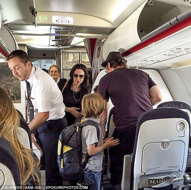 Taking flight: Angelina Jolie and Brad Pitt were joined by their six children as they flew...