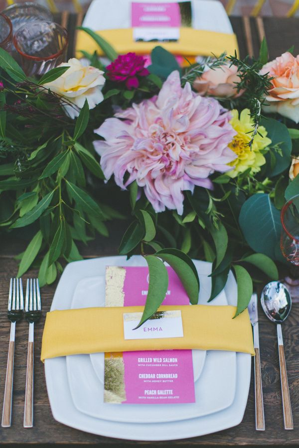 bright place setting, photo by Two Foxes Photography, styling by E Events Co http://ruffledblog.com/tropical-july-4th-styled-wedding #weddingideas #placesetting