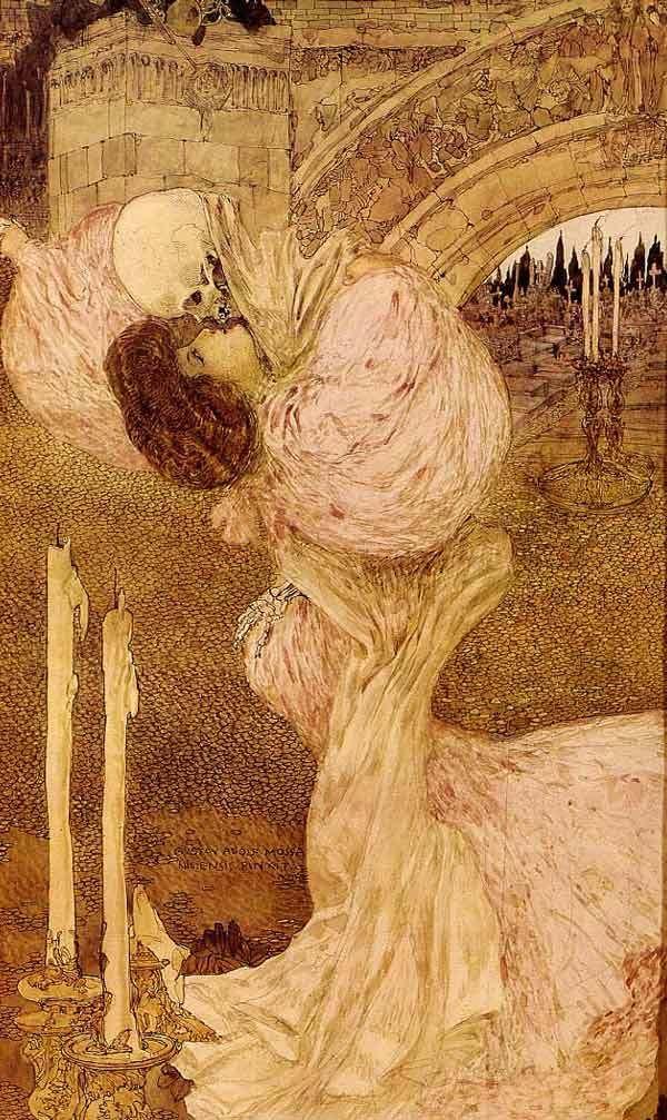 Gustav-Adolf Mossa - Valse Macabre (1906).  Death grim reaper Father Time scythe maiden girl woman dance danse macabre skull skeleton