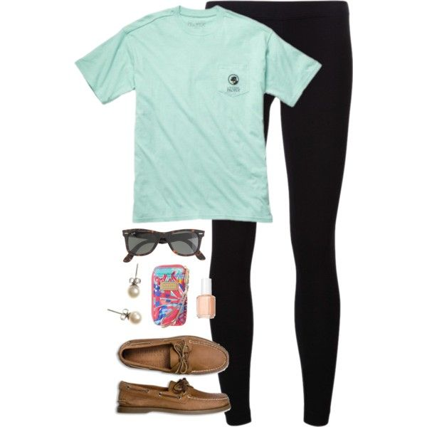 if all else fails, go for leggings & sperry's, created by classically-preppy on Polyvore