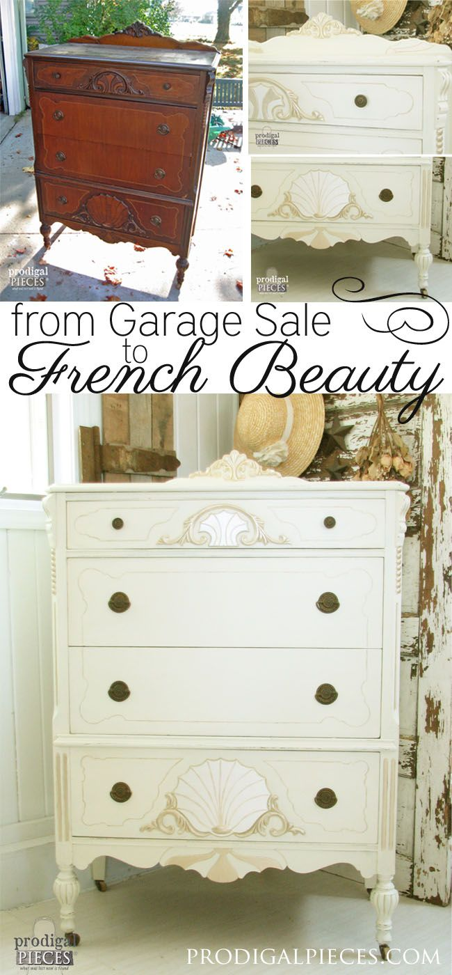 Worn out Art Deco chest of drawers gets a French makeover complete with jewels by Prodigal Pieces www.prodigalpieces.com #prodigalpieces