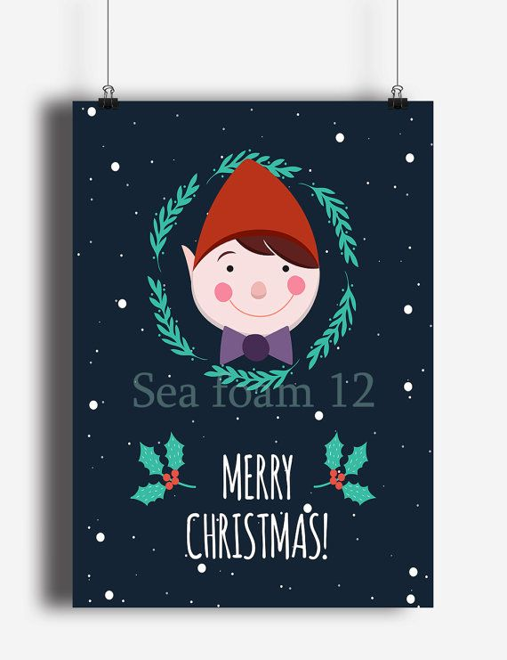 Merry Christmas Elf Printable | Christmas Wall Art | Holiday Decor | Christmas Print , Christmas Card ,Holiday Digital card , 6 Sizes