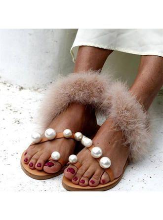 VERYVOGA Frauen Sandalen Flache Schuhe Flascher Absatz PU Perle Sandalen. #VERYV