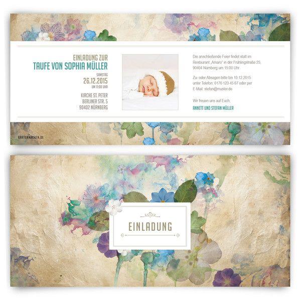 Einladungskarten   Taufe Einladungen Vintage Blumen Aquarell   Ein  Designerstück Von Kartenmachen De Bei DaWanda