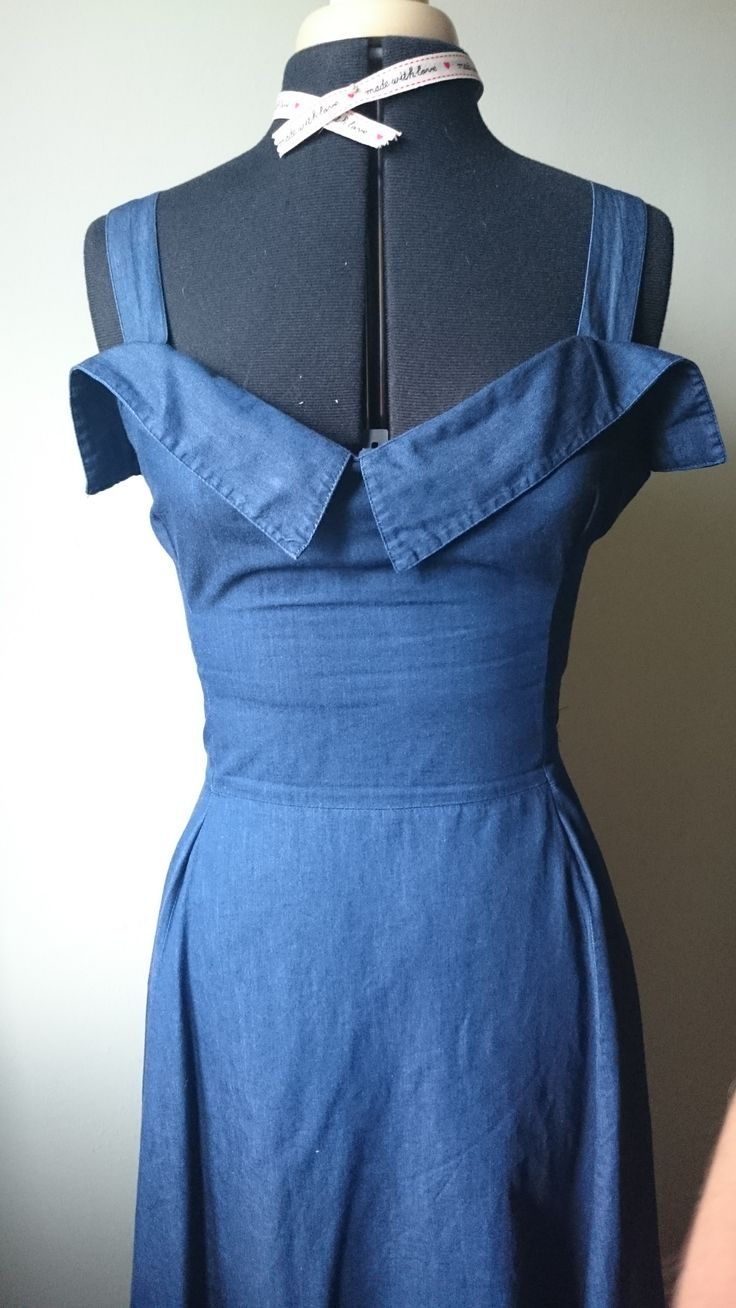 1950's style Chambray dress, refashioned from oversized Cotton Traders shirt…