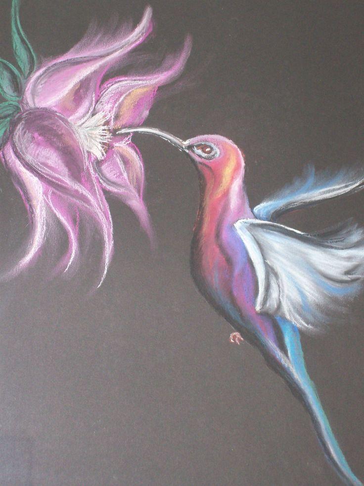 Kolibrie met Pastelkrijt, by Elise