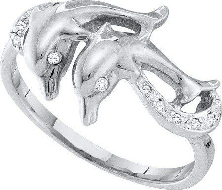engagement ring real 005ctw diamond dolphin ring promise new 10k white gold rings - Dolphin Wedding Rings