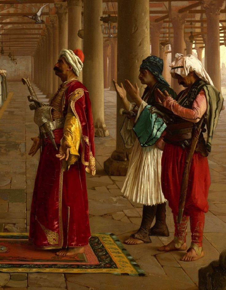 """Prayer in the Mosque"" (detail) by Jean–Léon Gérôme(1824-1904).   Late-Ottoman era, Cairo, 1871.  Three different outfits: an Egyptian dignitary, and his two attendants: one in Turkish costume, the other in Albanian dress (with the half-long skirt-like garment, called 'fustanella' in Greece).  (The Metropolitan Museum of Art, N.Y.)."