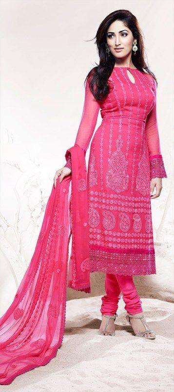 405549: Pink and Majenta color family unstitched Party Wear Salwar Kameez.