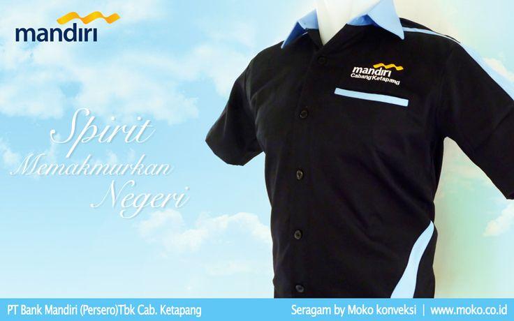 Baju Seragam Kerja Bank Mandiri Cabang Ketapang [Kalimantan Barat - Indonesia] Kemeja seragam cutting klasik dengan efek warna kontras untuk menghilangkan kesan kaku pada pakaian kerja dengan tampilan yang smart | Konveksi Seragam Kerja Moko Konveksi