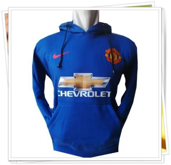 Jaket/Sweater Hoodie Bola - Manchester United MU (Biru)
