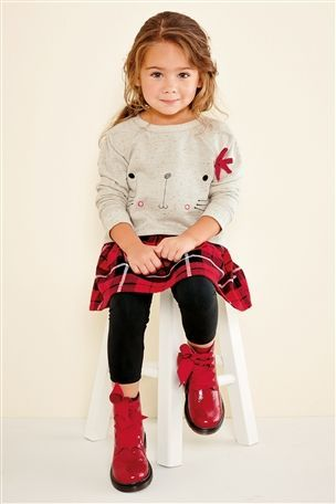 Cat Face Check Tunic And Leggings Set