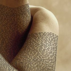 Imagine a world where the words that you spoke appeared on your skin...would you be more careful about what you say? (Photo: Israeli Artist Ronit Bigal Covers Human Body With Detailed Calligraphy)