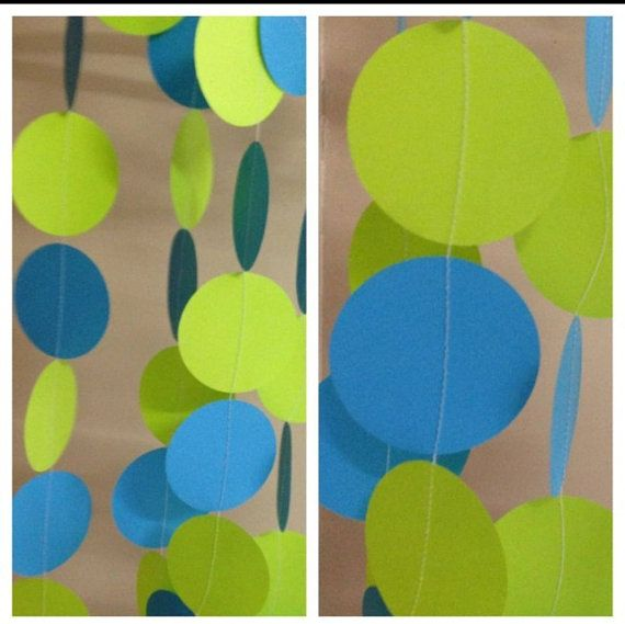 Paper Circle Garland - Monsters Inc Theme/Fluro green/turquoise