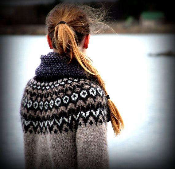 RESERVED LISTING for Inna B.: Icelandic Sweater, Lopapeysa, Handmade, 100 % pure Wool, Custom made, Oatmeal, Black, White, Warm, Cozy, Knit
