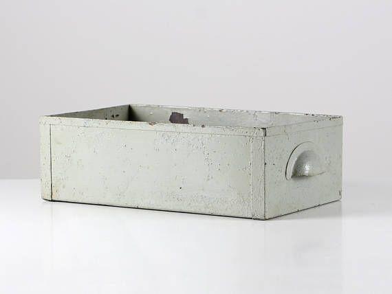 Vintage Metall Schublade Metallkiste Werkstatt Kiste