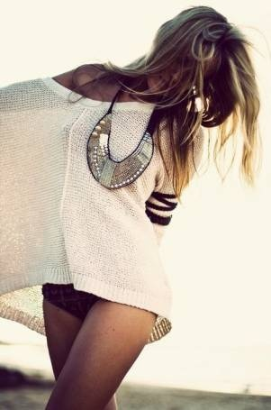 I love big loose sweaters like this over a swimsuit at the end of the day for when that summer breeze hits.