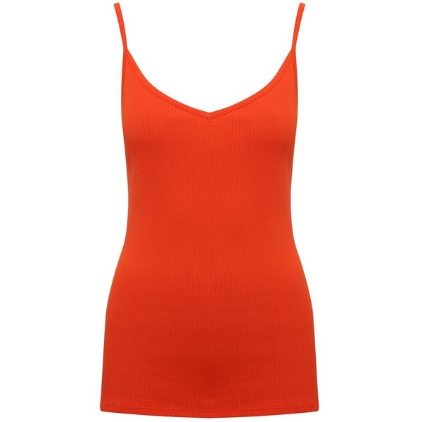 M&Co Essential Ribbed Cami Top ($7.74) ❤ liked on Polyvore featuring tops, orange, red cami top, orange cami top, v-neck camisoles, v neck tops and summer tops