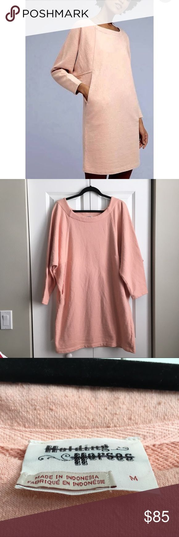 """Anthro Holding Horses Coconut Sweatshirt Dress- M Anthropologie Holding Horses Cocoon Sweatshirt Dress!  Brand new without tags.  Never worn!  Would look great with tights and boots!  Size Medium Pink/Salmon Color Sweatshirt weight/material Textured. 80% Cotton, 13% Poly, 7% Linen. Dolman Sleeves Oversized top that goes into cocoon style skirt. From a smoke free home. Cocoon silhouette  Side pockets  Pullover styling  Machine wash  Imported Measures 28"""" across, 36"""" in length and measures 22""""…"""