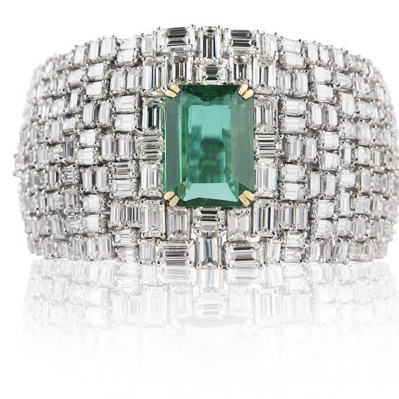 Emerald Cut Diamond Cuff With Emerald Center Stone. BRB DYING