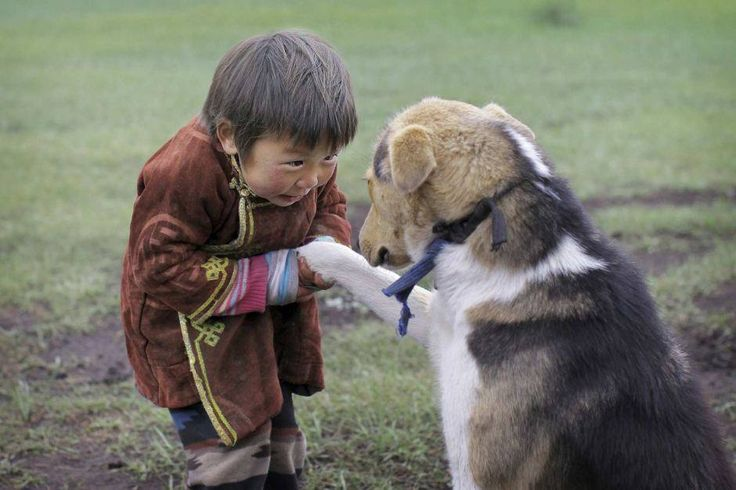 Boy from Mongolia with pet dog © Timothy Allen/Getty Images