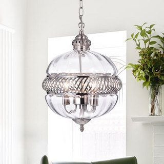 Stunning Permin inch Clear Glass Globe with Metal Accents Pendant Light Overstock