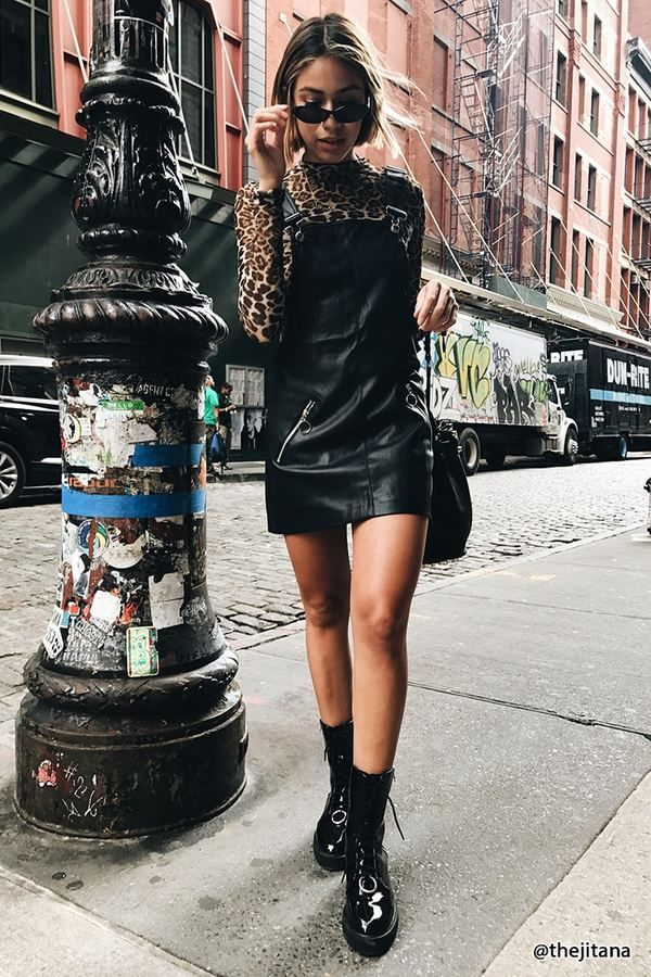 FOREVER 21 Faux Leather Overall Dress