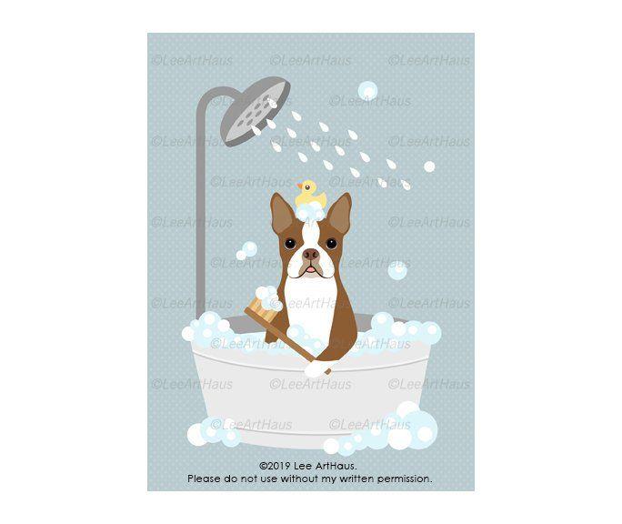24g 5x7 Red Boston Terrier Dog In Bathtub Wall Art Dog Taking