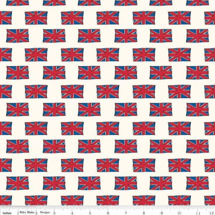 Riley Blake - British Invasion Flag Cream - cotton fabric