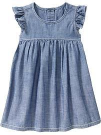 Chambray Flutter-Sleeve Dresses for Baby