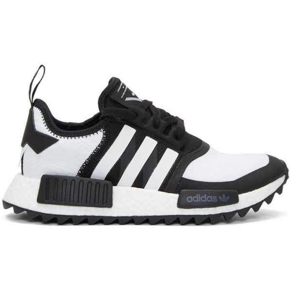 adidas x White Mountaineering Black NMD Trail PK Sneakers ($210) ❤ liked on Polyvore featuring men's fashion, men's shoes, men's sneakers, black, mens lace up shoes, mens black sneakers, mens black shoes, mens round toe shoes and adidas mens sneakers