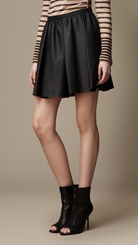 $965, Burberry Lambskin Skater Skirt. Sold by Burberry. Click for more info: https://lookastic.com/women/shop_items/4004/redirect