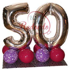 Globos de números para 50 cumpleaños. * Globus de números per a 50 aniversari.  www.undiaredondo.com