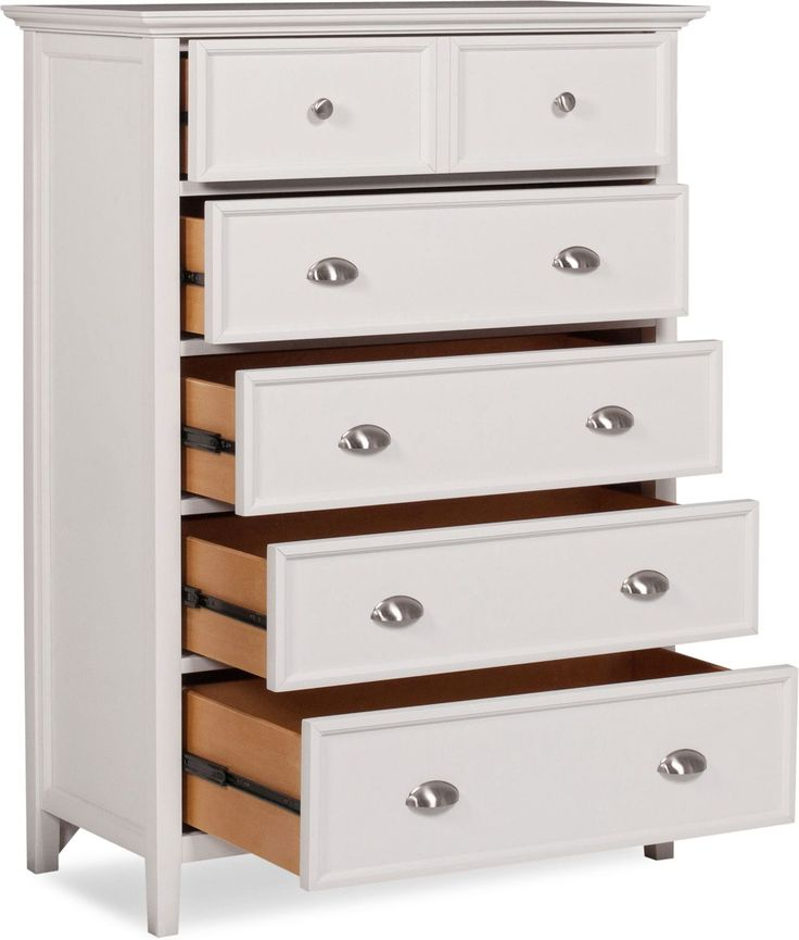 The Ellsworth chest offers chic style with a kid-friendly touch. Elegant moldings adorn a crisp, white finish, while ample drawer space provides plenty of room for clothing, toys and other bedroom essentials. Silver hardware on the white wood delivers contemporary style that creates a bedroom your kids will want to show off to their friends.