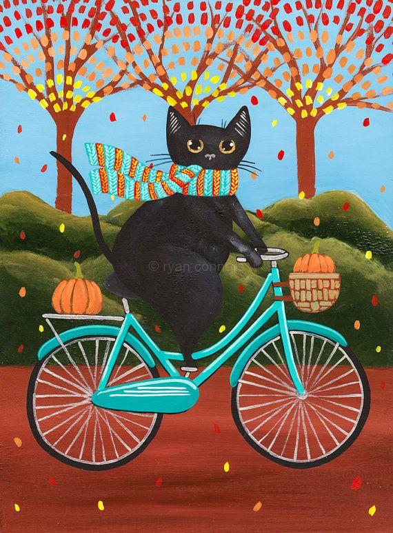 Autumn Fat Black Cat on a Bicycle Original Folk Art Painting by KilkennycatArt