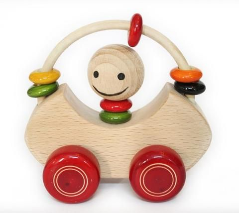 Wooden Mungu car made of sustainable wood with vegetable colour lacquer finish. Mungu car has 5 movable colourful rings & little wheels. It is a good toy to develop cognitive & motor skills.