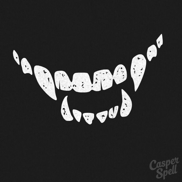 """Every time you smile, I smile."" Creepy Vampire Teeth Halloween art by Casper Spell (www.CasperSpell.com)"