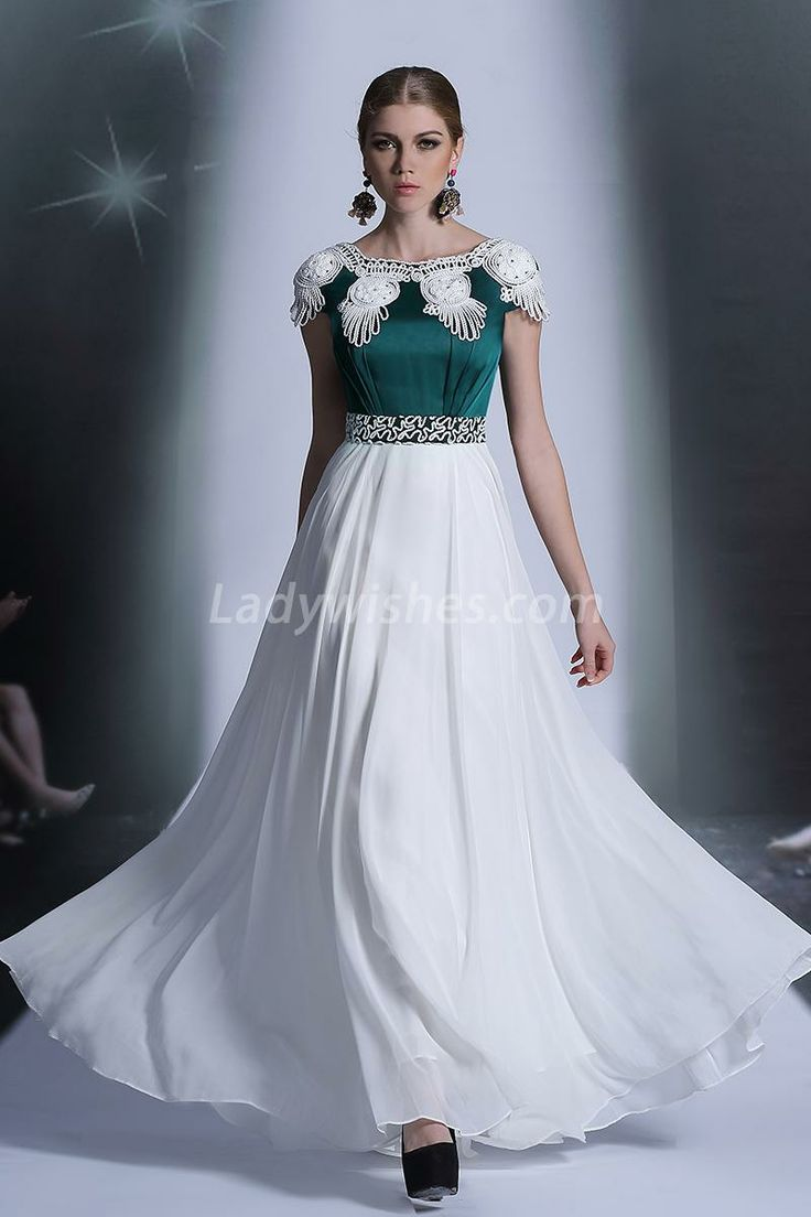 Unique Jasper and White Polyester Long Prom Dress with Cap Sleeves