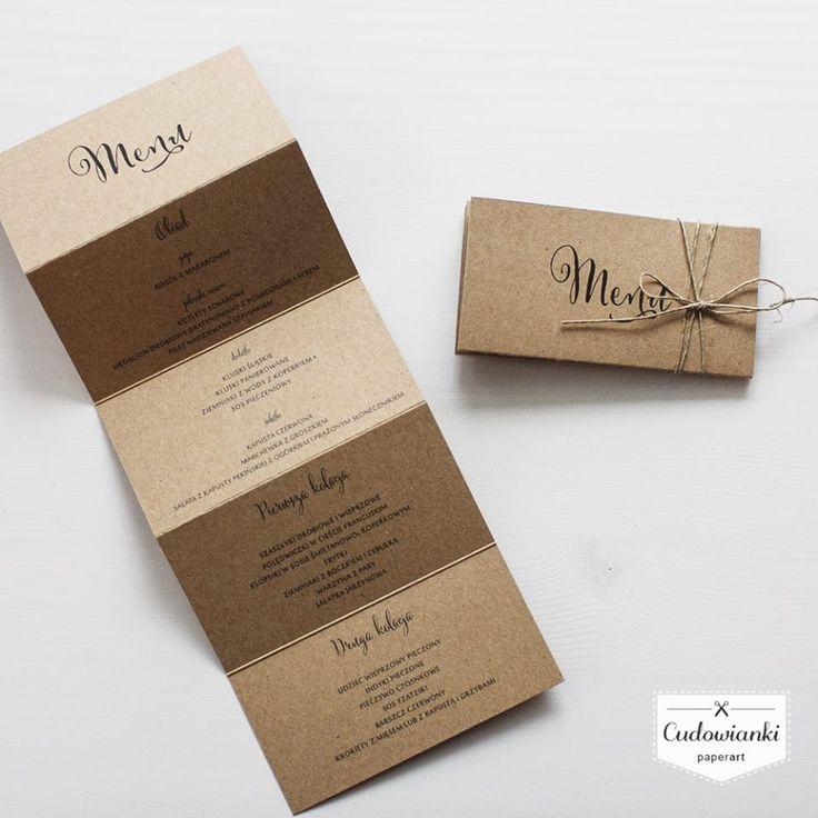 Eco, rustic, vintage wedding menu with. Folding accordion. / Weselne menu w formie składanej harmonijki, wykonane z ekologicznego papieru.