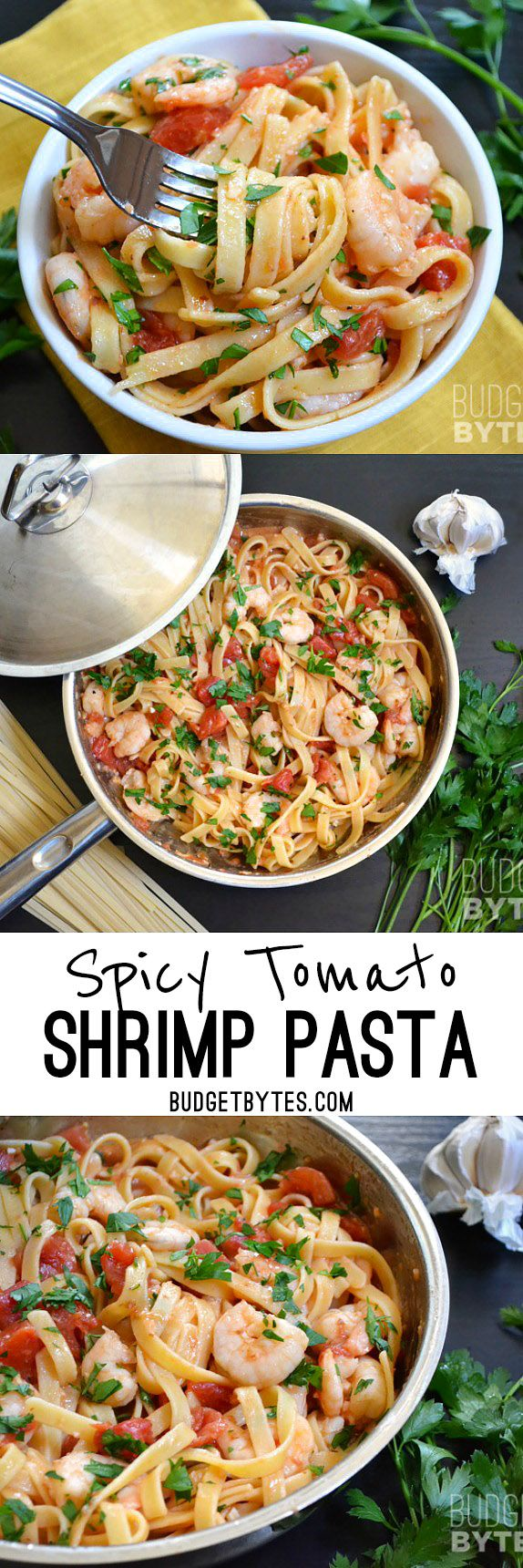 It takes less than 30 minutes to make this super flavorful and filling Spicy Shrimp Tomato Pasta. Dinner made FAST! BudgetBytes.com