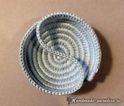 Корзинка из веревки с обвязкой крючком (12)