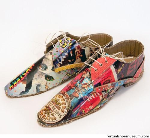 Cardboard shoes Beatles  Mark O'Brien    Material: cardboard and printed paper (2012)