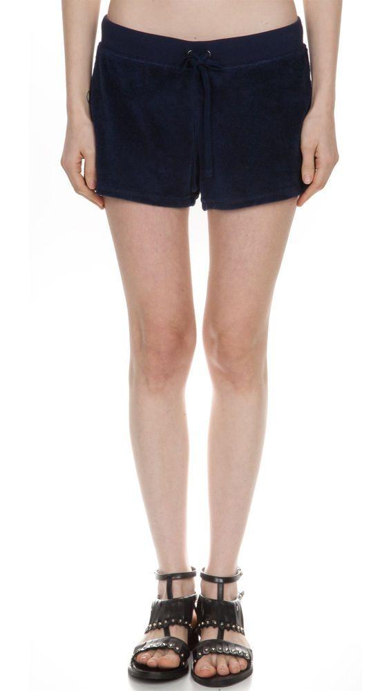 VELVET By Graham & Spencer Katsy Drawstring Velour Shorts Pants Navy S $78 #Velvet #CasualShorts