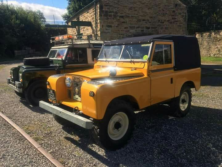 Land Rover 88 Series II and III yellow and green. Nice
