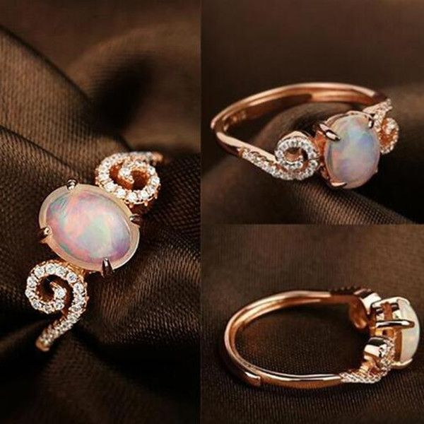 Simple and Adorable Rose Gold Opal Promise Ring for Her