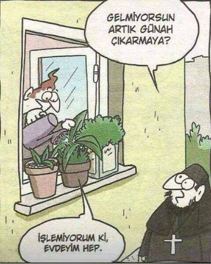 - Gelmiyorsun artık günah çıkarmaya? + İşlemiyorum ki, edeyim hep. #karikatür #mizah #matrak #komik #espri #şaka #gırgır #komiksözler