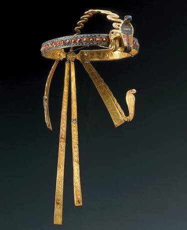 Diadem of Tutankhamun. Studded with semiprecious stones, this crown was found on the head of King Tutankhamun's mummified body.