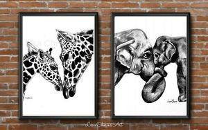 Mother-and-Baby-Giraffe-and-Elephant-Prints-nursery-prints-cute-art-baby-art