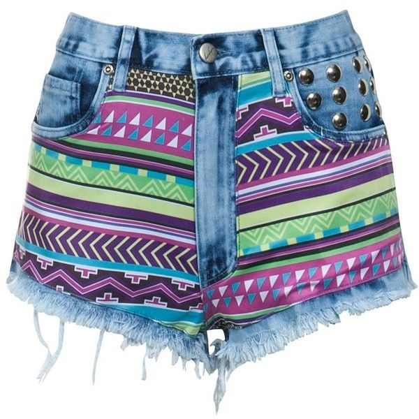 Bambam Neon Aztec Print Shorts ($81) ❤ liked on Polyvore