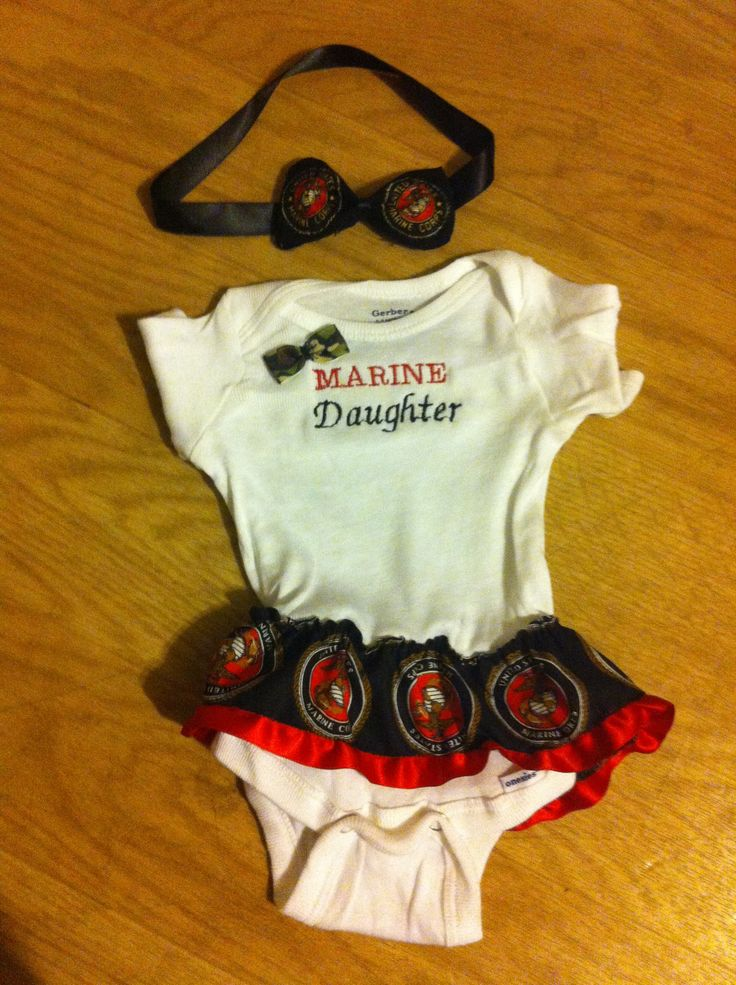 USMC baby onesie & bow personalized